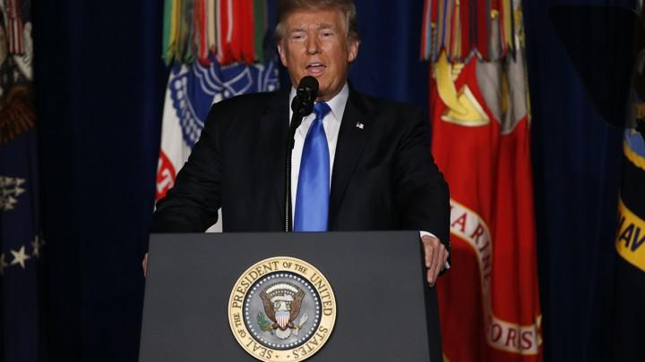 President Trump speaking from Fort Myer in Arlington, Virginia