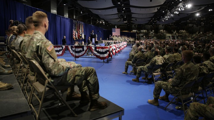 Members of the U.S. military listen as President Trump announces his strategy for the war in Afghanistan.