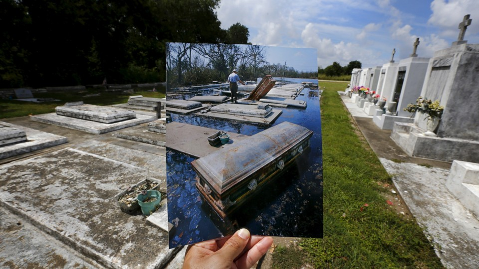 A photograph taken in New Orleans in 2005, matched up at the same location 10 years later