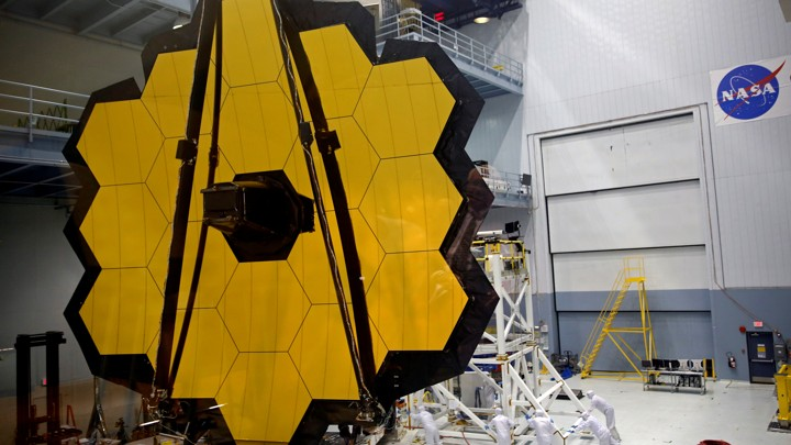 Equipment that is part of NASA's space telescope in Texas, consisting of yellow hexagons