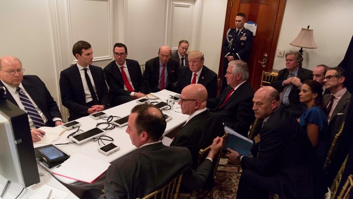 U.S. President Donald Trump is shown in an official White House handout image meeting with his National Security team.