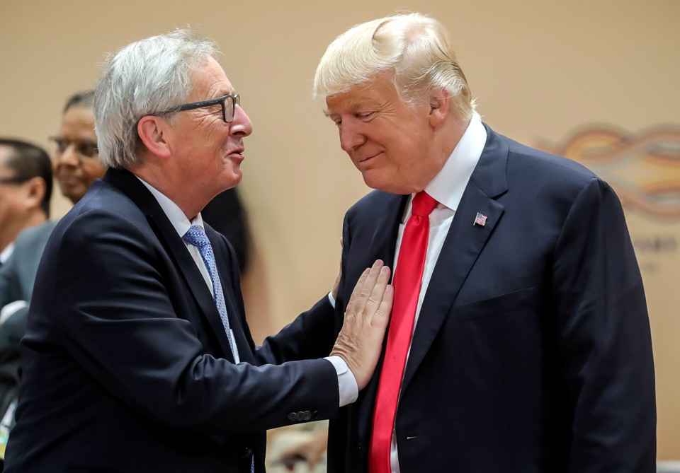 President Trump and European Commission President Jean-Claude Juncker pictured at the G-20 summit in Hamburg, Germany on July 8, 2017.