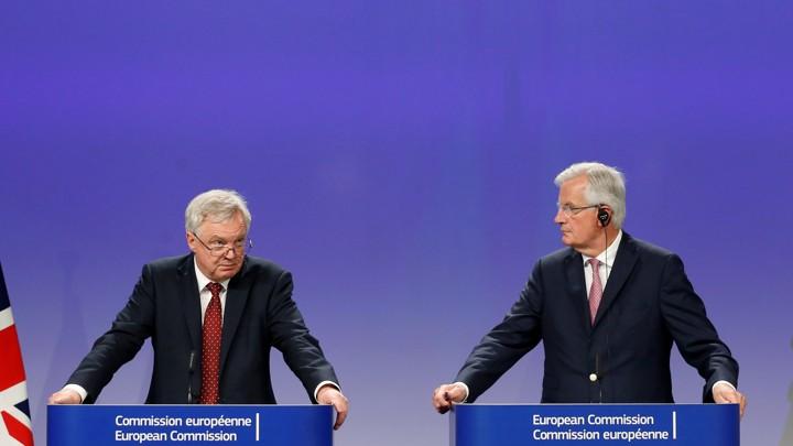 U.K. Brexit Secretary David Davis and EU's Chief Brexit Negotiator Michel Barnier