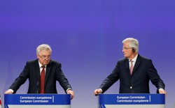 U.K. Brexit Secretary David Davis and EU's Chief Brexit Negotiator Michel Barnier