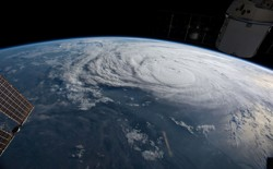 Hurricane Harvey looms off the coast of Texas, as seen from aboard the International Space Station.