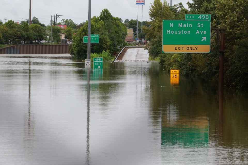 A flooded highway in Houston