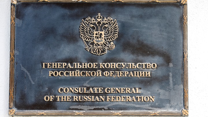sign outside the entrance to the building of the Consulate General of Russia in San Francisco.