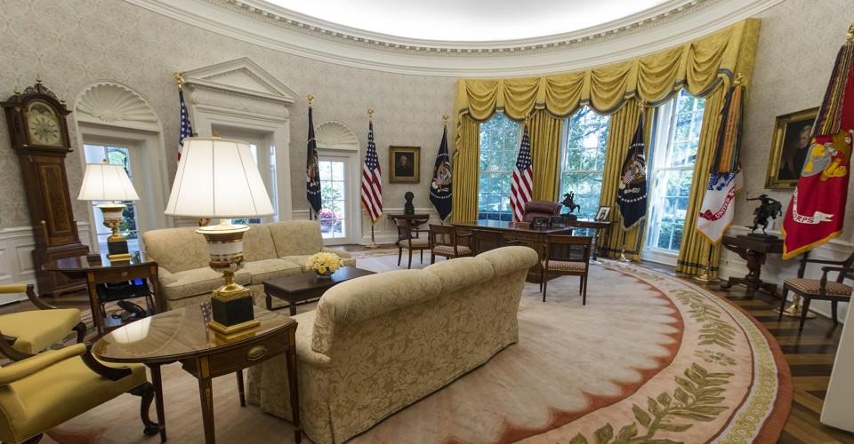google office decor decoration spot the change in president trumps oval office the atlantic