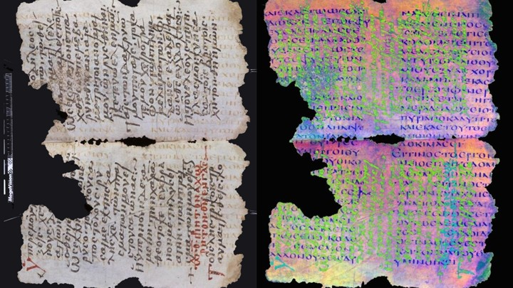 Two photos of the same pages from an ancient manuscript. The left is a normal image. The right is a special composite image that illuminates underlying erased words.