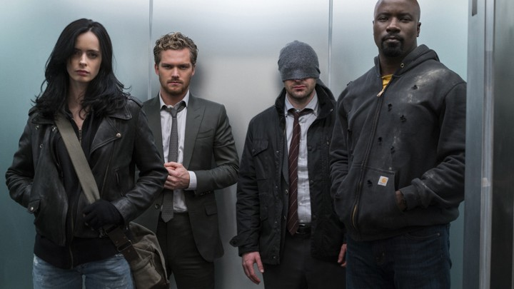 Jessica Jones (Krysten Ritter), Iron Fist (Finn Jones), Daredevil (Charlie Cox), and Luke Cage (Mike Colter)