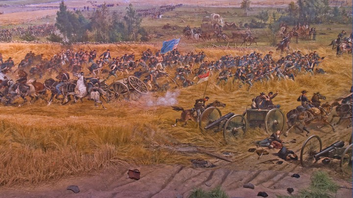 A scene from the Gettysburg Cyclorama, an 1883 cyclorama painting depicting the climactic clash between Union and Confederate forces during the Battle of Gettysburg in 1863.