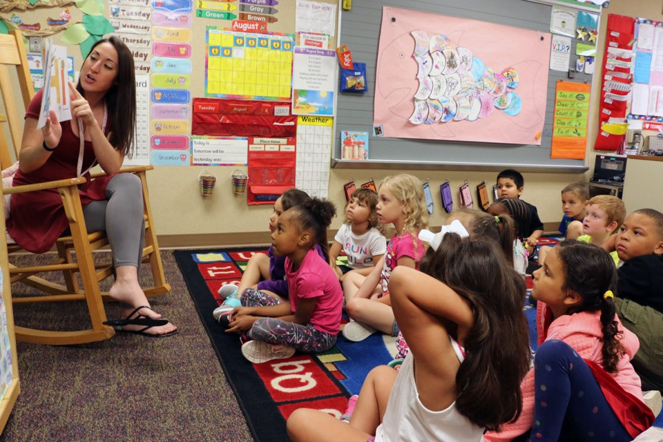 A Kindergarten Teacher Reads To Students