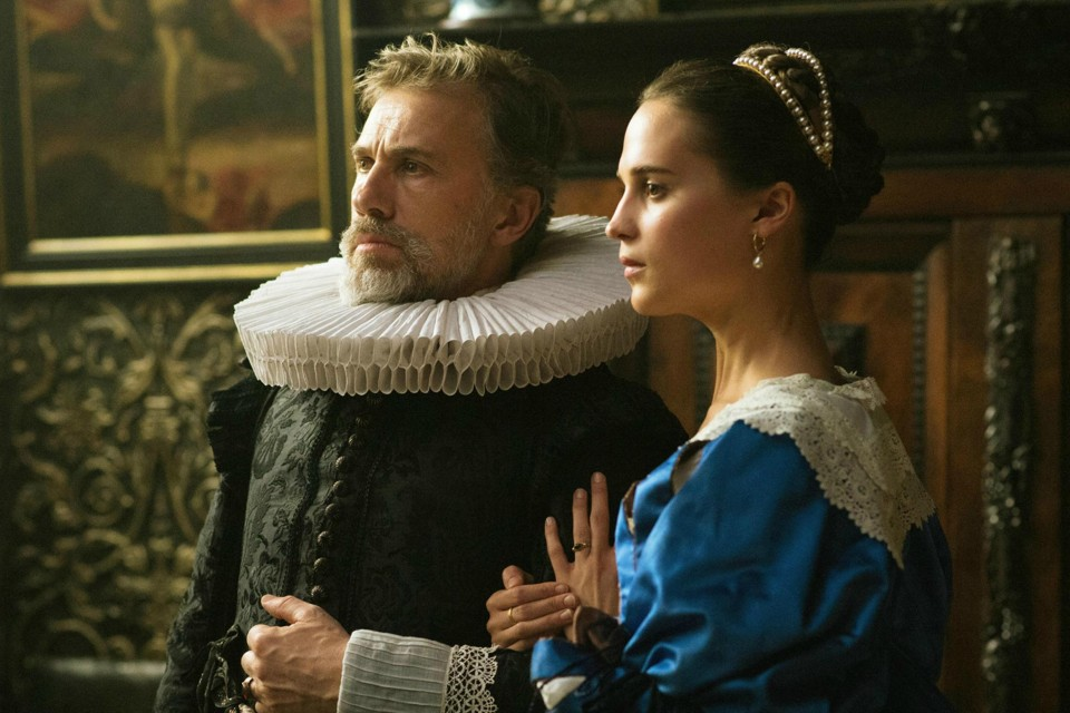 A still of Christoph Waltz and Alicia Vikander in the film 'Tulip Fever'