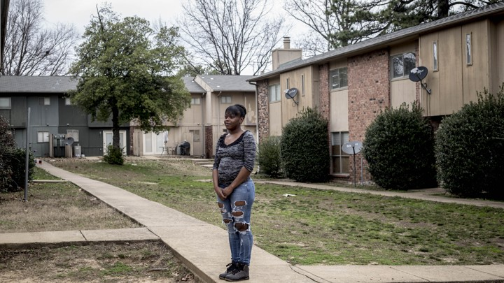 Novasha Miller outside her apartment in Memphis, Tennessee