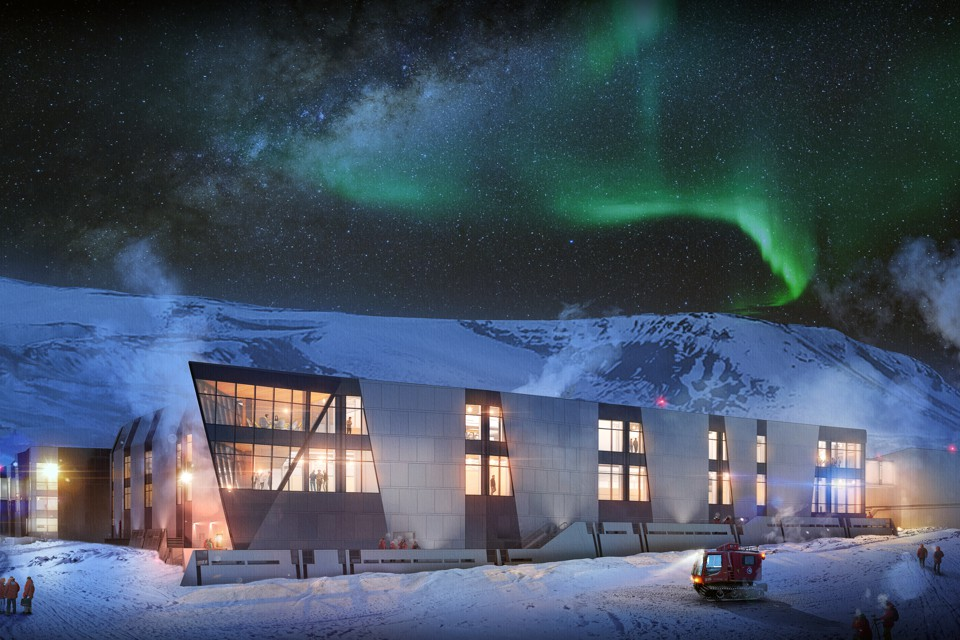 A rendering of a modern building with many windows in Antarctica