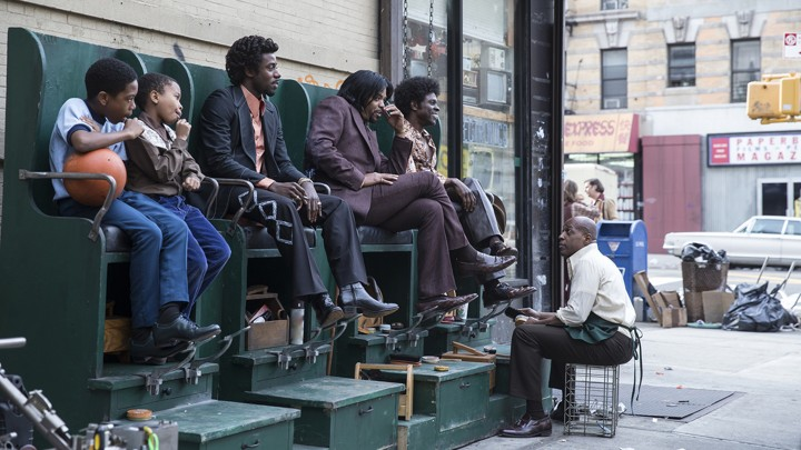 C.C. (Gary Carr), Rodney (Method Man), and Larry (Gbenga Akinnagbe) in a scene from David Simon and George Pelecanos's The Deuce, airing on HBO September 10