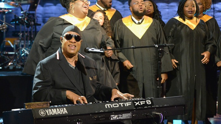 """Stevie Wonder performs """"Lean on Me"""" during Hand in Hand"""