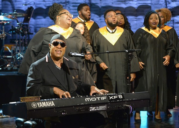 "Stevie Wonder performs ""Lean on Me"" during Hand in Hand"