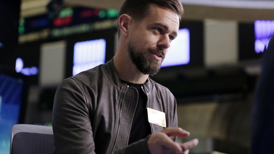 Jack Dorsey gestures during a conversation on the floor of the New York Stock Exchange.