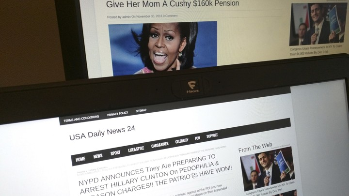 Fake news headlines about Michelle Obama and Hillary Clinton