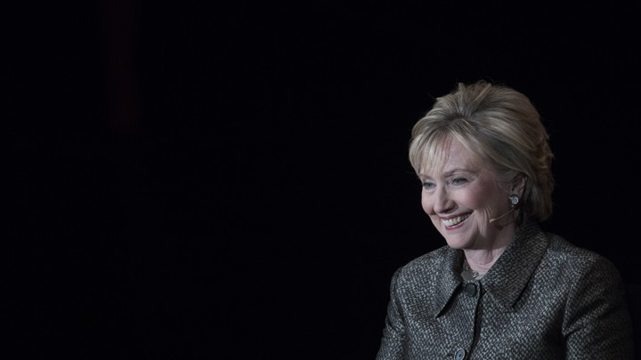 Hillary Clinton speaks at an event during in the run-up to her 2017 book tour.