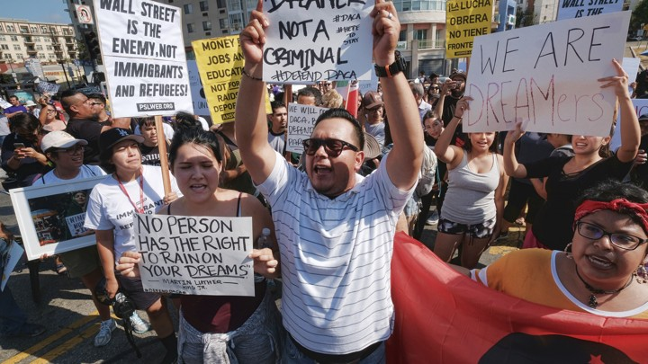 Protesters rally in support of the Deferred Action for Childhood Arrivals, or DACA, during a Labor Day rally in downtown Los Angeles on September 4.