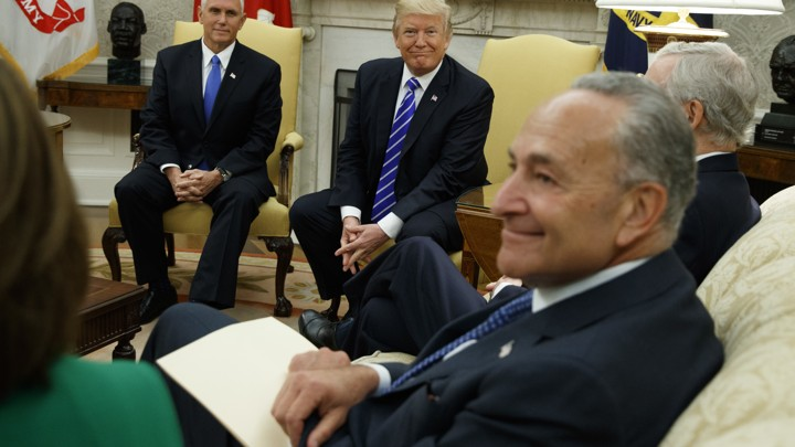 Donald Trump meets with Congressional leaders in the Oval Office.