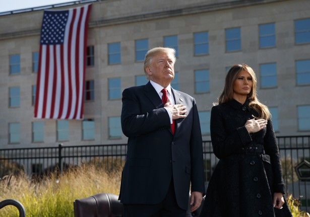 President Donald Trump and First Lady Melania Trump commemorate 9/11