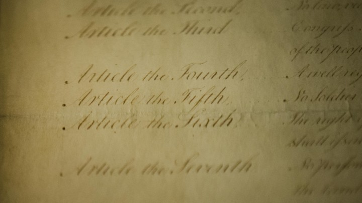 A closeup view of one of the original copies of the Bill of Rights