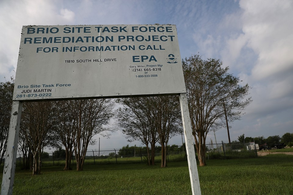 A sign at the Brio Superfund site on September 4, 2017, in Friendswood, Texas