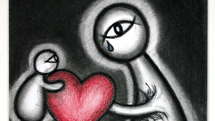 A mother figure with one crying eye holds out a heart to a child figure