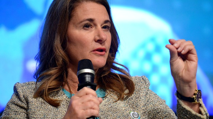 Melinda Gates speaks into a microphone.