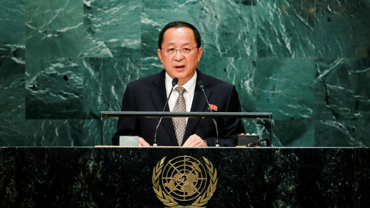 North Korean Foreign Minister Ri Yong Ho addresses the United Nations General Assembly.