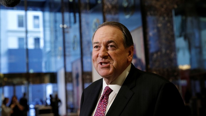 Mike Huckabee in the lobby of Trump Tower in November 2016