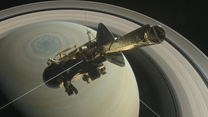 Cassini is pictured above Saturn's northern hemisphere.