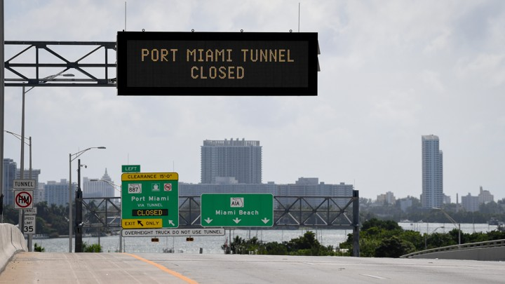 """A road sign reads, """"Port Miami tunnel closed."""""""