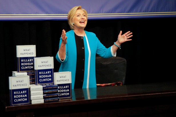 Former Secretary of State Hillary Clinton attends a signing of her new book in Manhattan.