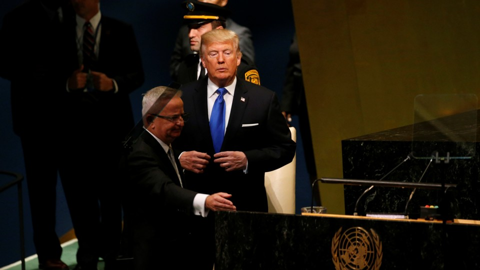 President Donald Trump steps up to deliver his address to the United Nations General Assembly.