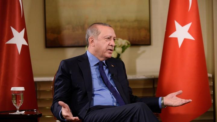 Recep Tayyip Erdogan gestures