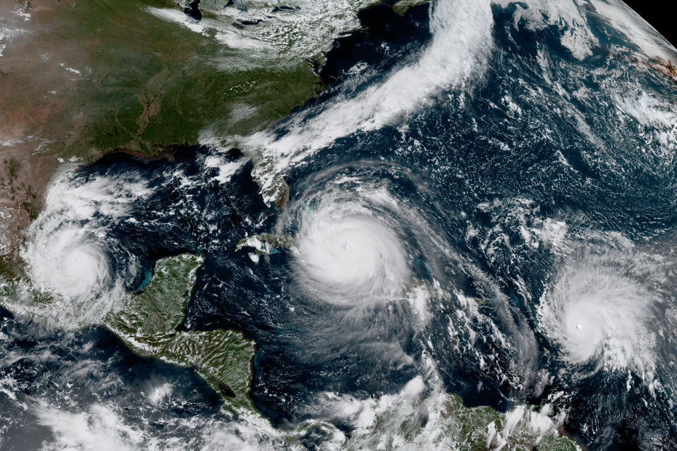 A satellite images in which Hurricanes Irma, Jose, and Katia are visible