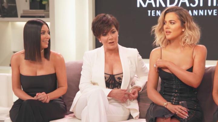 Kim Kardashian, Kris Jenner, and Khloe Kardashian during the 'Keeping Up With the Kardashians' 10-year-anniversary special