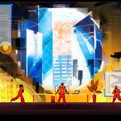 Cartoonish figures interact with the world through code.