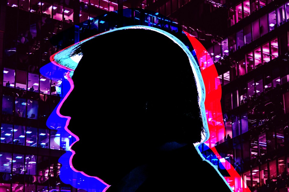 A silhouette of Donald trump is seen in contrast against Moscow buildings.