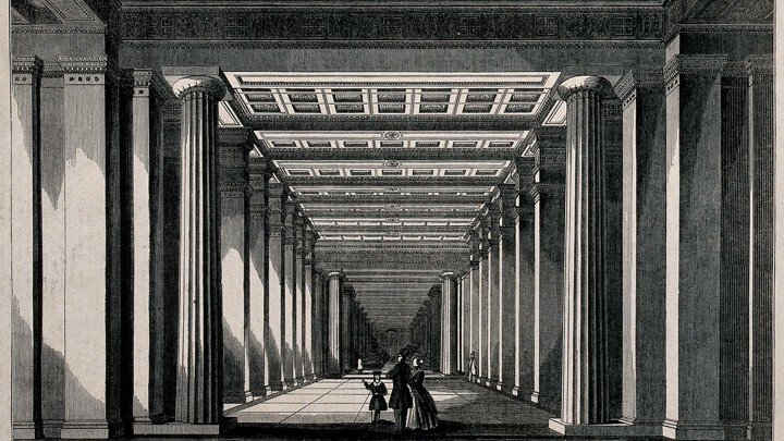 Illustration of a family standing in the west wing of the British Museum