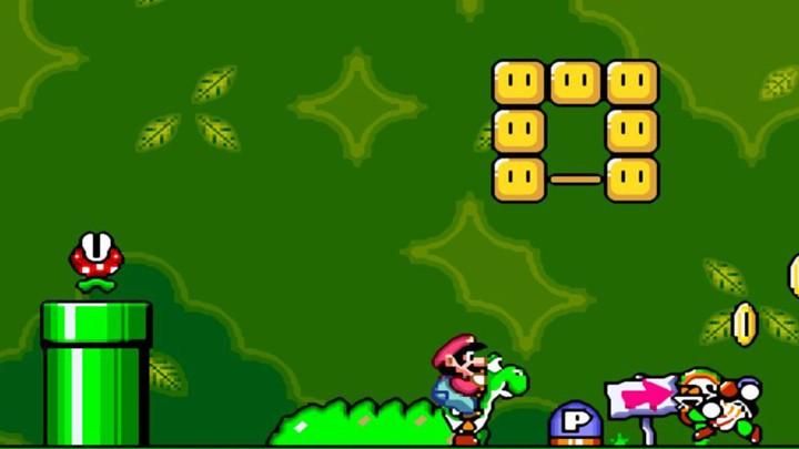 A still from Super Mario World, one of the 21 games available on the SNES Classic