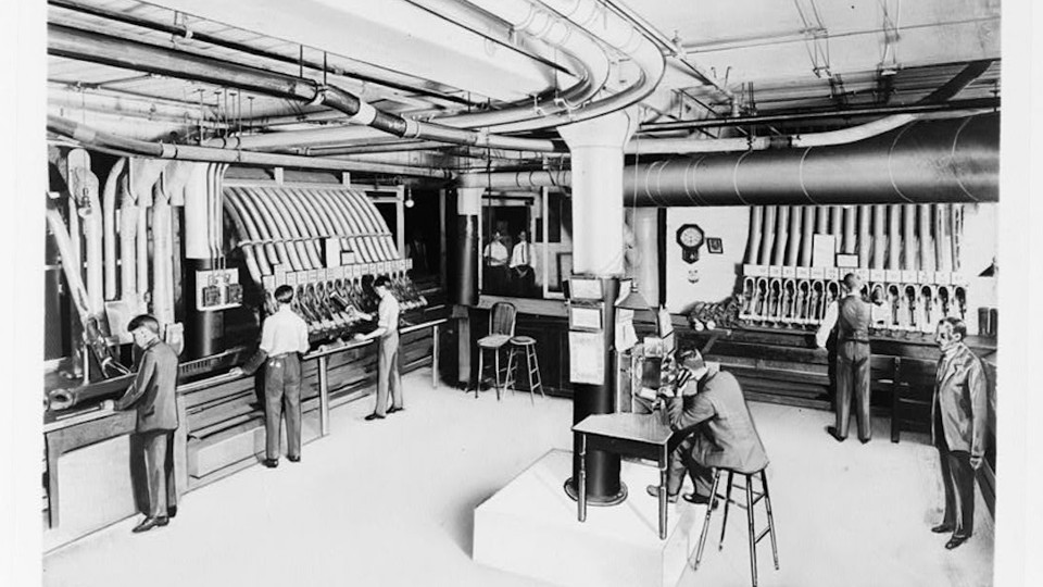 A pneumatic-tube station in the Sears, Roebuck & Company mail-order plant in Chicago