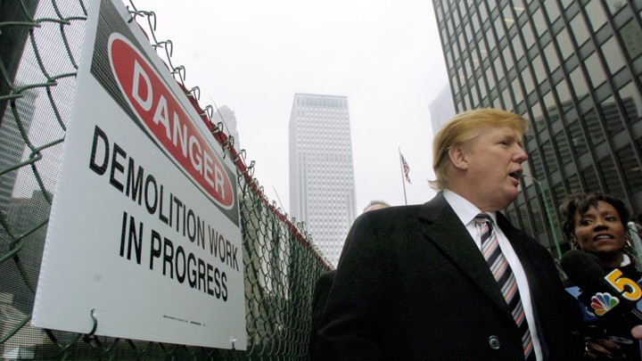 Donald Trump in Chicago in 2004, as demolition of the old Chicago Sun-Times building begins.