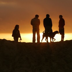 Four people and a dog are silhouetted against a sunset or sunrise.