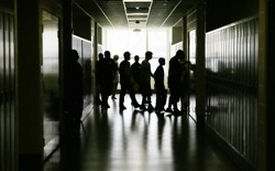 Students walk through the hallway of a Philadelphia high school
