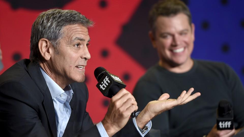 George Clooney and Matt Damon presenting 'Suburbicon' at the Toronto International Film Festival